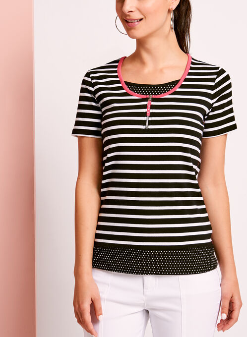 Stripe & Dot Print Cotton T-Shirt, Black, hi-res