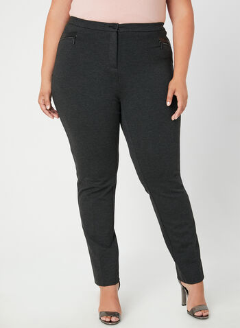 Signature Fit Straight Leg Pants, Grey,  signature fit, straight leg, high waist, faux leather, fall 2019, winter 2019