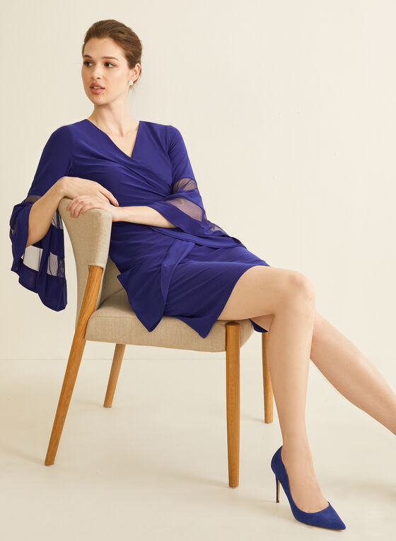 Jersey Wrap Side Dress, Blue