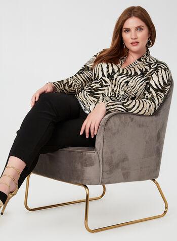 Joseph Ribkoff - Animal Print Top, Black, hi-res,  Canada, Joseph Ribkoff, long sleeves, top, animal print, metallic, V-neck, fall 2019, winter 2019