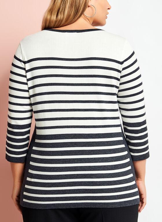 Embellished Stripe Print Sweater, Grey, hi-res
