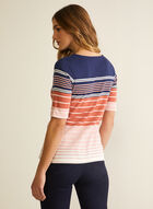 Stripe Print Elbow Sleeve Tee, Grey