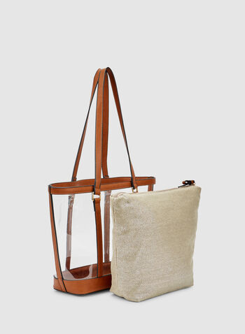 Clear Tote Bag, Brown,  faux leather, transparent, spring 2019