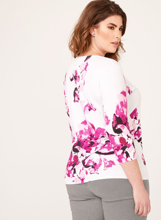 Floral Print Knit Cardigan, White, hi-res