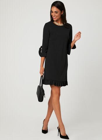 Ruffle Trim Cocktail Dress, Black, hi-res