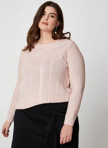 Pull à tricot torsadé et fibres métallisées, Rose,  pull, tricot torsadé, lurex, col dégagé, manches longues, coton, automne hiver 2019