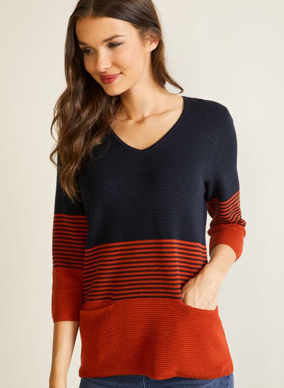 Pull rayé en tricot ottoman, Bleu