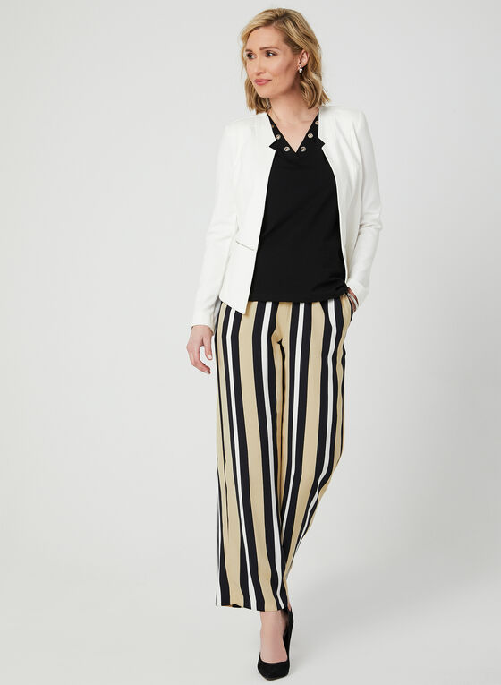 Stripe Print Wide Leg Pants, Blue, hi-res
