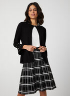 Partially Open Pearl Detail Cardigan, Black