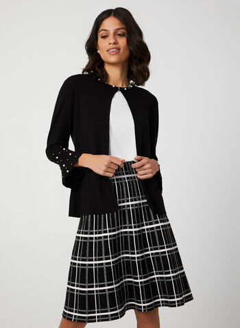 Partially Open Pearl Detail Cardigan, Black,  knit, cardigan, pearls, 3/4 sleeves, partially open, fall winter 2019