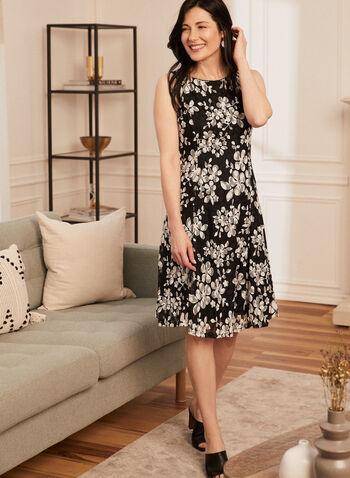 Floral Print Fit & Flare Dress, Black,  day dress, floral, sleeveless, fit & flare, sheer, spring summer 2020