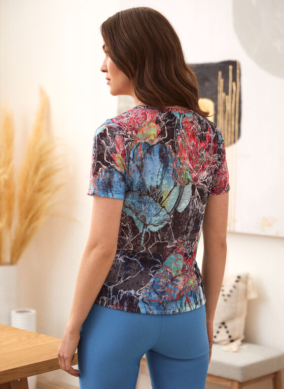 Abstract Floral Print Burnout Tee, Blue