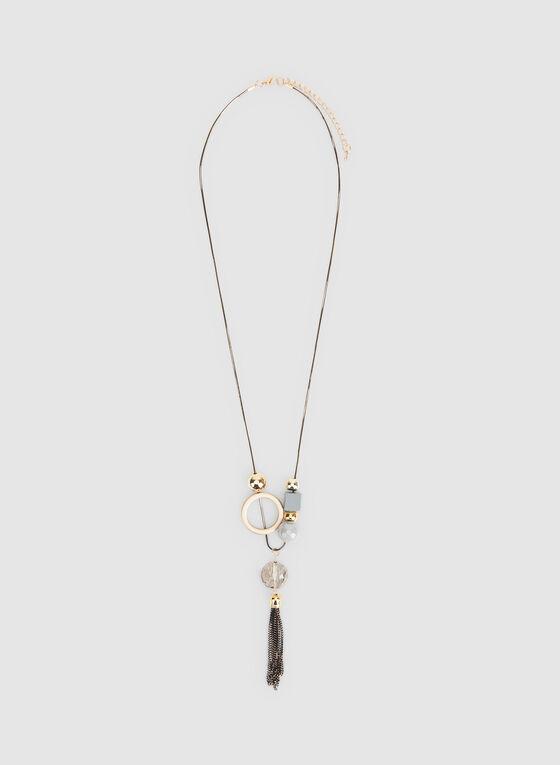 Multiple Pendant Tassel Necklace, Grey, hi-res