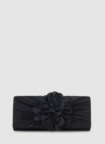 Satin Clutch With Flower Detailing , Blue, hi-res,  clutch, flower, flower clutch, satin clutch, pleats, winter 2019, fall 2019