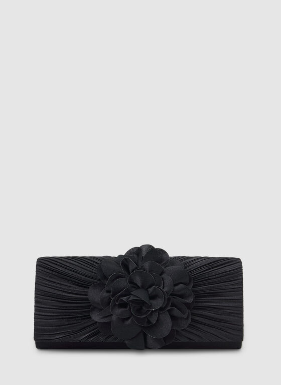 Satin Clutch With Flower Detailing , Blue