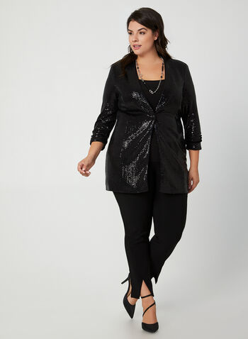 Joseph Ribkoff - Sequin Blazer, Black,  canada, sequin blazer, sequins, blazer, jacket, duster, holiday, Joseph Ribkoff, fall 2019, winter 2019