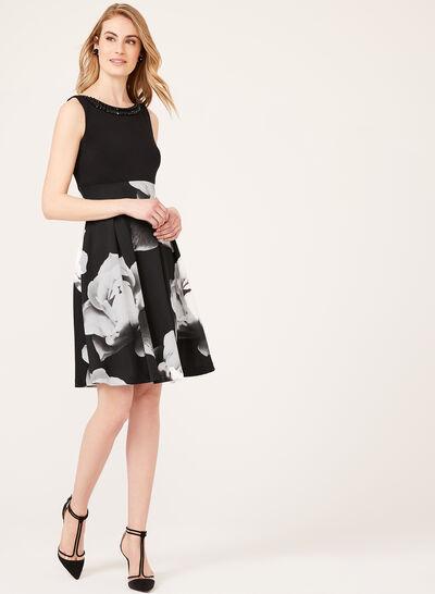 Floral Print Fit & Flare Scuba Dress