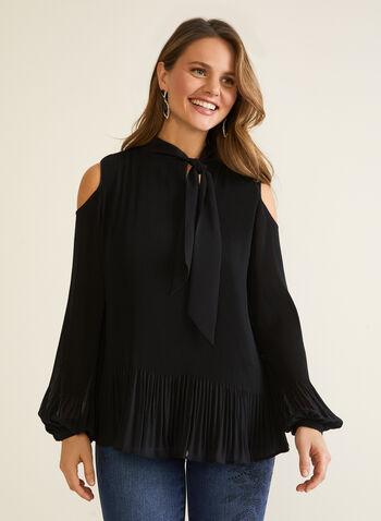 Blouse en mousseline à plis , Noir,  automne hiver 2020, blouse, haut, mousseline, léger, fluide, détail de noeud, fêtes, fêtes 2020