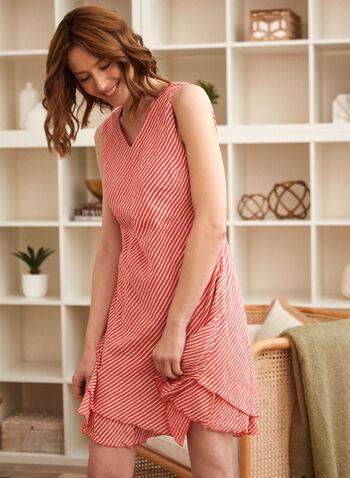 Charlie B - Cotton Gauze Ruffle Dress, Red,  spring summer 2021, v neck, no sleeves, ruffles, diagonal