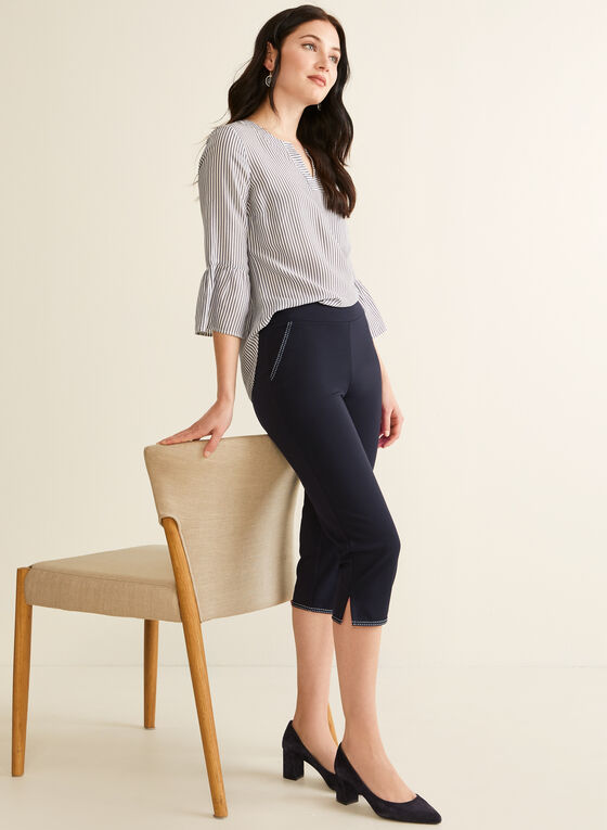Contrast Stitch Capri Pants, Blue