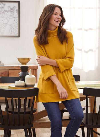 Pull tunique à col roulé , Jaune,  chandail, tricot, pull, tunique, manches longues, col roulé, poches, fentes, tricot, printemps été 2021
