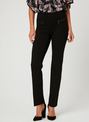 City Fit Pinstripe Print Pants, Black, hi-res