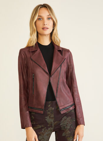 Vex - Faux Leather Jacket, Purple,  jacket, faux suede, notched collar, faux leather, zipper, fall winter 2020