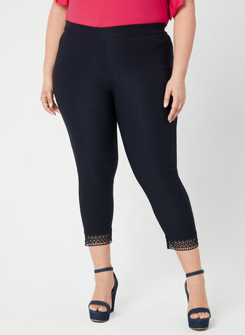Pantalon coupe cité à détail crochet, Bleu,  pantalon, pull-on, cité, bengaline, crochet, printemps 2019