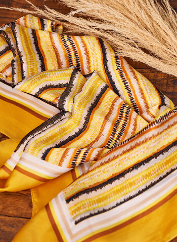Foulard à motifs abstraits et bordure unie, Or,  foulard, motifs abstraits, effet soie, bordure contrastante, oblongue, printemps été 2021, importation