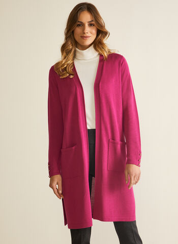 Button Detail Open Front Cardigan, Pink,  cardigan, open front, long sleeves, button details, cuffs, knit, tunic, spring summer 2021
