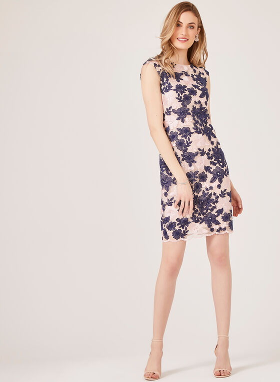 Floral Embroidered Mesh Sheath Dress, Blue, hi-res