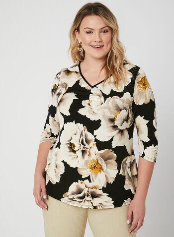 Blouse fleurie à manches ¾, Noir, hi-res,  blouse, manches 3/4, col V, jersey, fleurs, automne hiver 2019