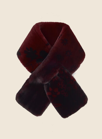 Floral Print Faux Fur Scarf, Red,  fall winter 2020, scarf, faux fur, vegan, floral print, flower