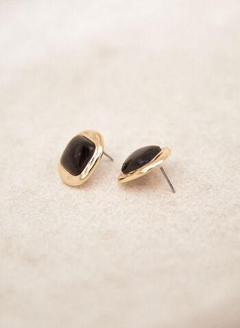Square Resin Button Earrings, Black,  fall 2021, accessory, accessories, jewellery, earrings, button earrings, square shaped, squared, resin, gold, border, pushback closure, metal, material