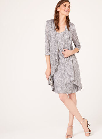 Metallic Tank Dress With Matching Cardigan, Silver, hi-res