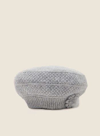 Mink Fur Flower Knit Hat, Grey,  mink fur, flower detail, floral detail, polyester, nylon, pill box, knit, knitted, hat, winter accessories, outdoor, tuque