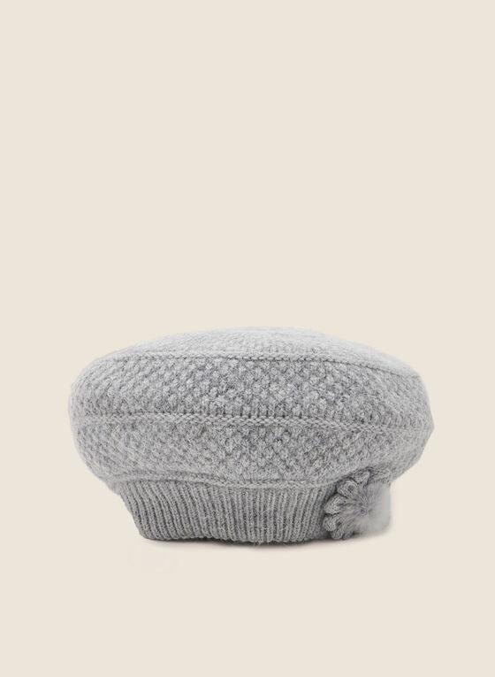Mink Fur Flower Knit Hat, Grey