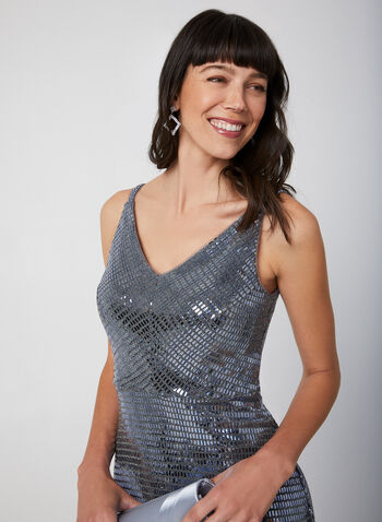 Sleeveless Sequin Dress, Silver,  evening dress, sequin, sleeveless, v-neck, fall 2019