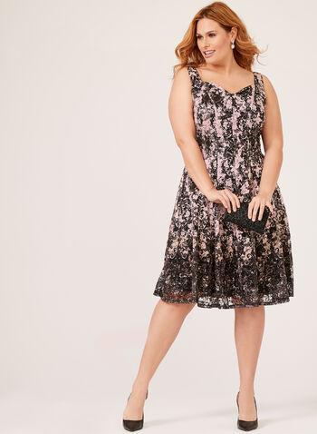 Contrast Lace Fit & Flare Dress, Black, hi-res