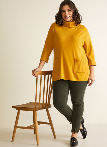 Turtleneck Tunic Sweater, Yellow,  sweater, knit, tunic, long sleeves, turtleneck, rib knit, fall winter 2020