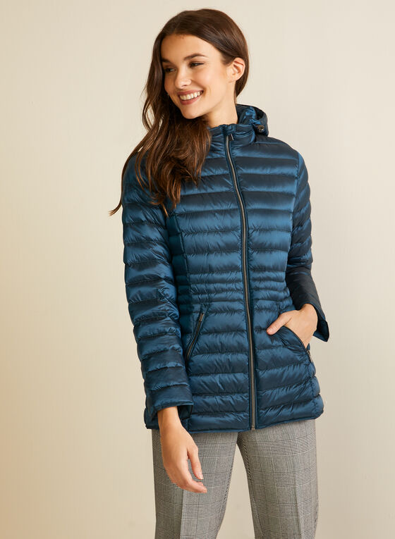 Manteau compressible en duvet, Bleu