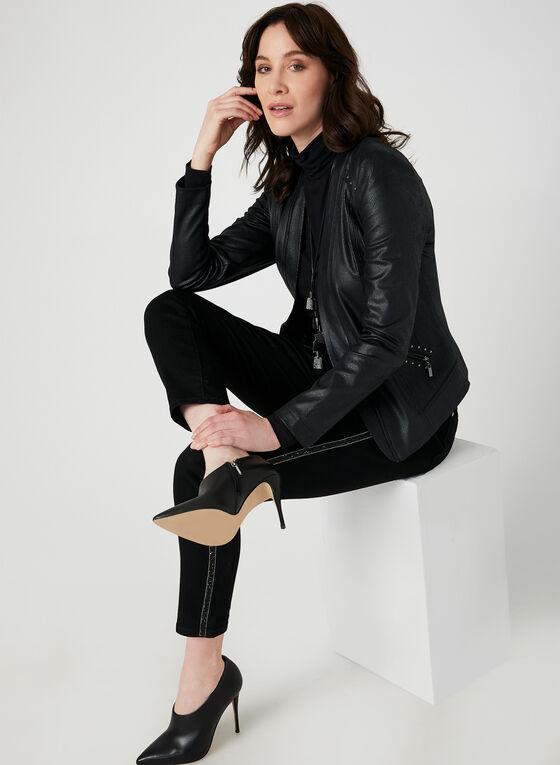 Jeans coupe moderne à cristaux, Noir