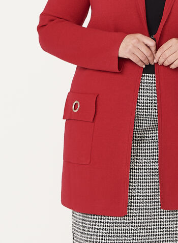 Ness - Cardigan tricoté à col cranté, Rouge, hi-res