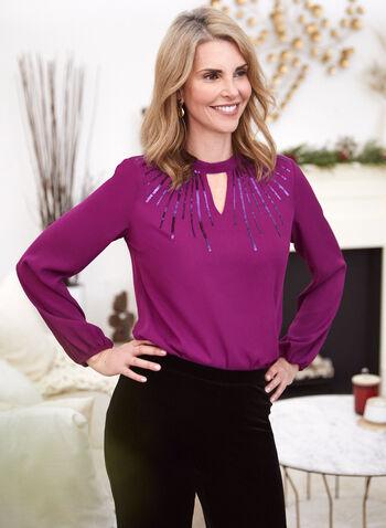 Long Sleeve Keyhole Detail Blouse, Purple,  fall winter 2020, long sleeves, keyhole, sequins, flowy, puffed