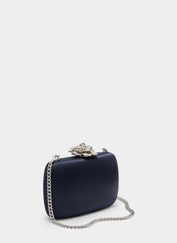 Rose Detail Box Clutch, Blue, hi-res