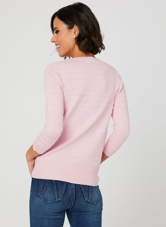 Jacquard Knit Cardigan, Pink, hi-res