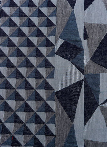 Foulard motif géométrique à franges, Bleu, hi-res
