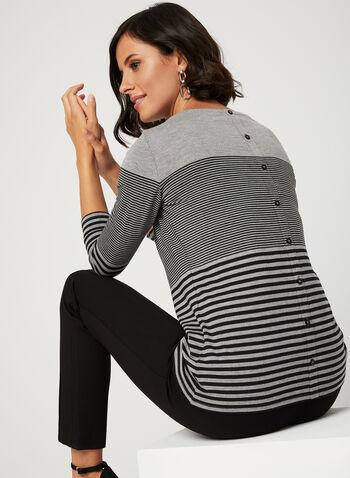 Stripe Print ¾ Sleeve Top, Grey, hi-res