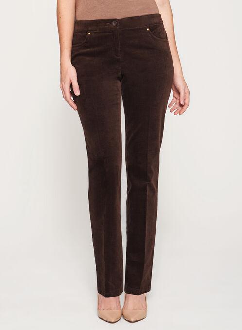 Pantalon coupe signature en velours côtelé, Brun, hi-res