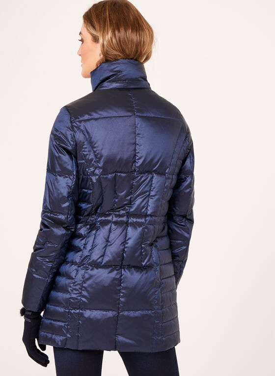 Quilted Faux Fur Hooded Coat , Blue, hi-res